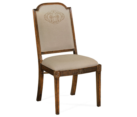 Jonathan Charles - Upholstered Dining Chair with Gold Embroidery - 493395