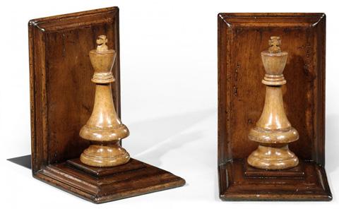 Jonathan Charles - Walnut Chess Piece Bookends - 493711