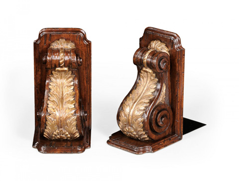 Jonathan Charles - Pair of Bookends Gilded Bracket Design - 494006