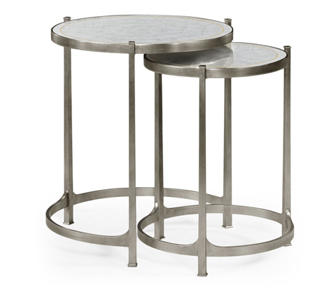 Jonathan Charles - Eglomise and Silver Iron Round Nest of Two Tables - 494141-S