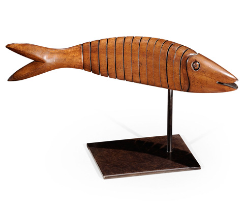 Jonathan Charles - Articulated Walnut Fish on Stand in Walnut - 494223