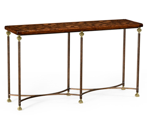 Jonathan Charles - Parquetry and Iron Console - 494317