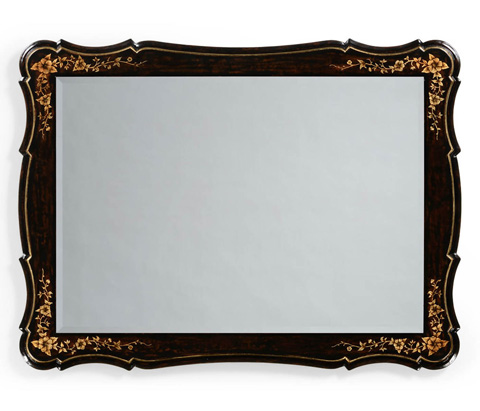 Jonathan Charles - Black and Gilt Floral Rectangular Mirror - 494322