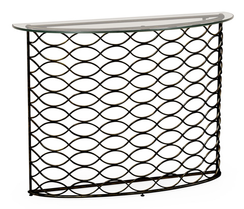 Jonathan Charles - Interlaced Bronze and Glass Demilune Console - 494569-B
