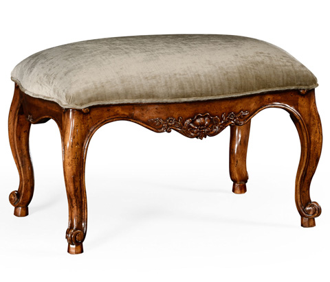 Jonathan Charles - French Walnut Footstool with Velvet Cushion - 494676