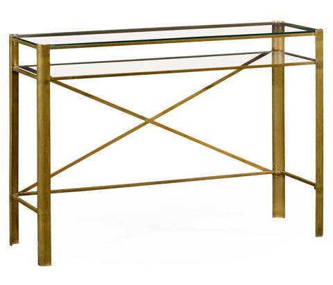 Jonathan Charles - Modernist Brass Rectangular Console - 495013