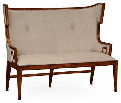 Jonathan Charles - Greek Key Design Walnut Upholstered Sette - 495049-WAL