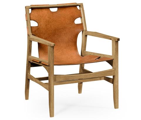 Jonathan Charles - Slung Leather Light Oak Easy Chair - 495096