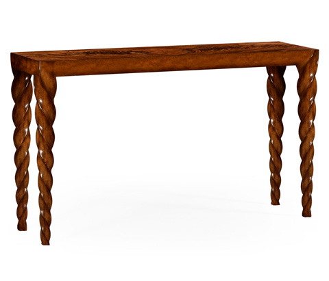 Jonathan Charles - Walnut Console with Twisted Legs - 495136-WLL