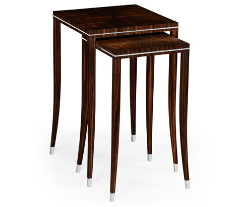 Jonathan Charles - Soho Nesting Table with White Brass Detail - 495160