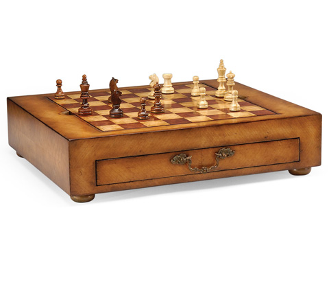 Jonathan Charles - Satinwood Games Box with Drawer - 492241
