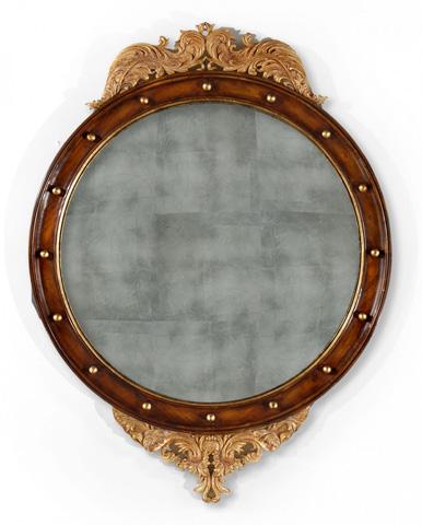 Jonathan Charles - Regency Walnut and Gilt Round Convex Mirror - 493028