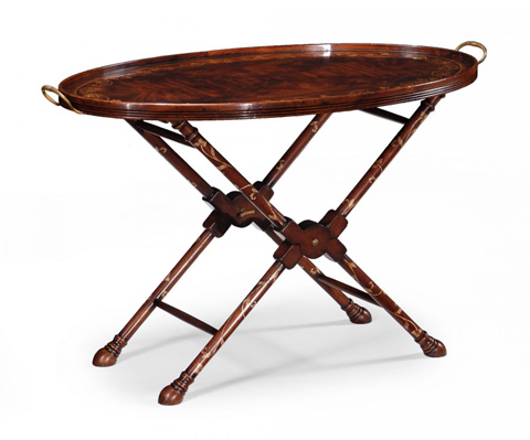 Jonathan Charles - Oval Tray On Stand With Floral Inlay - 493294