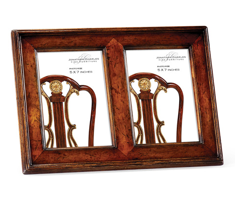 Jonathan Charles - Double Country Walnut Picture Frame - 493308