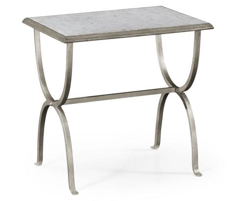Jonathan Charles - Silver Iron Rectangular Side Table - 494036-S