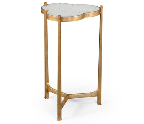 Jonathan Charles - Gilded Iron Trefoil Lamp Table - 494172-G