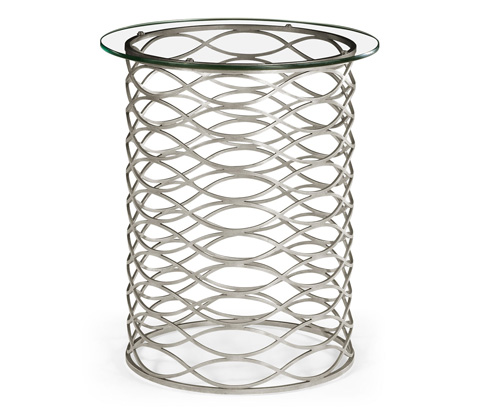 Jonathan Charles - Interlaced Silver and Glass Side Table - 494247-S