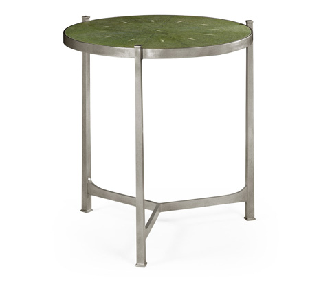 Jonathan Charles - Green Round Faux Shagreen Silver Side Table - 494253-S