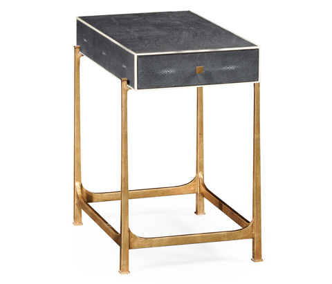 Jonathan Charles - Faux Shagreen and Gilded Iron Side Table - 494256-G