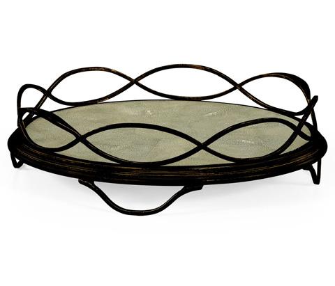 Jonathan Charles - Green Faux Shagreen and Bronze Iron Circular Tray - 494270-B