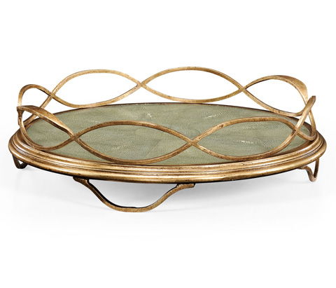 Jonathan Charles - Green Faux Shagreen and Gilded Iron Circular Tray - 494270-G