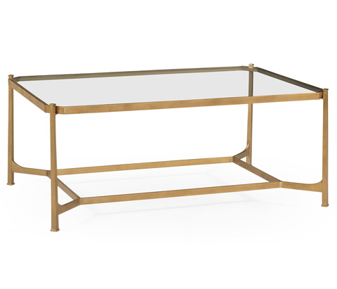 Jonathan Charles - Patinated Gilded Finish Rectangular Coffee Table - 494922-G