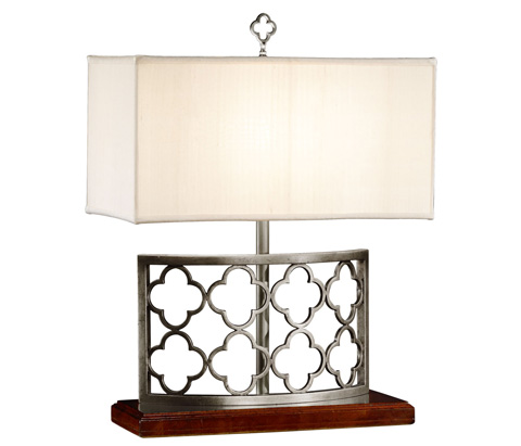 Jonathan Charles - Silvered Gothic Trellis Table Lamp - 494974-S