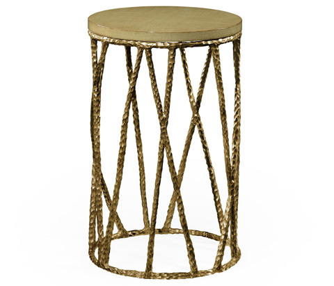 Jonathan Charles - Brass Hammered Wine Table with Celadon Top - 495085-BRA