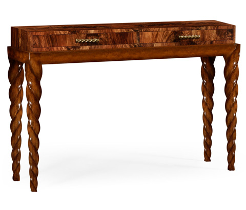 Jonathan Charles - Twisted Leg Walnut Console with Drawers - 495191-WLL