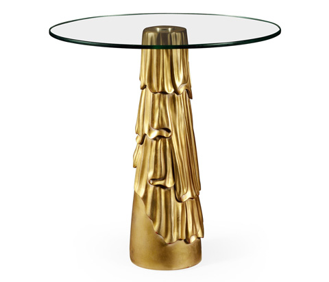 Jonathan Charles - Gilded Antique Gold Leaf Round Drink Table - 495302-GIL