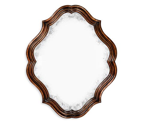 Jonathan Charles - Rustic Walnut Oval Antique Mirror - 495323-RWL
