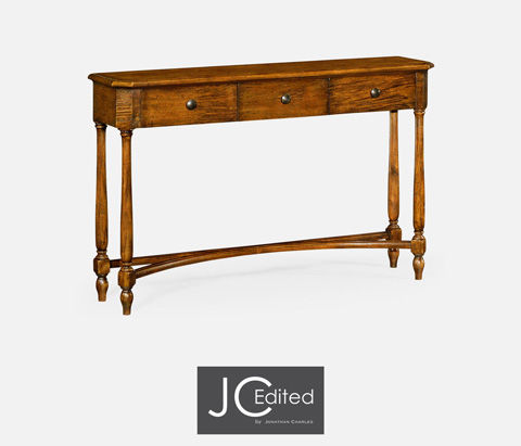 Jonathan Charles - Country Walnut Three Drawer Large Console Table - 491010-CFW