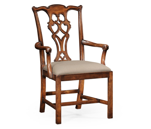 Jonathan Charles - Chippendale Style Classic Walnut Arm Chair - 493853