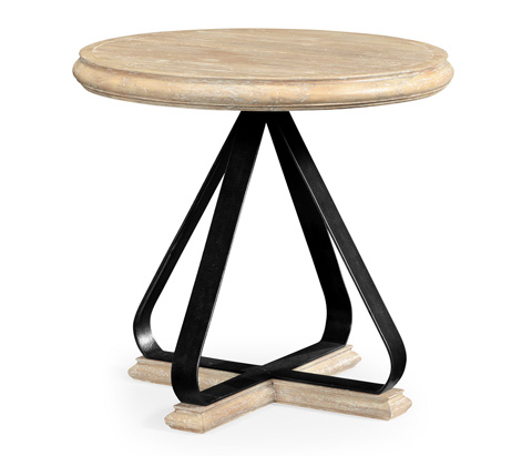 Jonathan Charles - Round Side Table with Iron Base in Limed Acacia - 495408-LMA