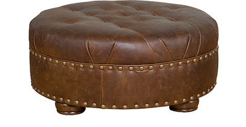 King Hickory - Nancy Round Leather Ottoman - 0078-L