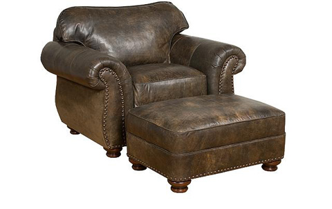 King Hickory - Helen Leather Chair and Ottoman - 56151L/56158L