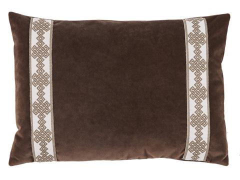 Lacefield Designs - Brown Velvet Side Border Lumbar Pillow - D1008