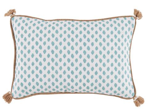 Lacefield Designs - Dot Print Lumbar Tassel Pillow - D1023