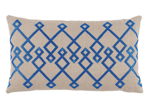 Lacefield Designs - Blue Tan Embroidered Lumbar Pillow - D1031