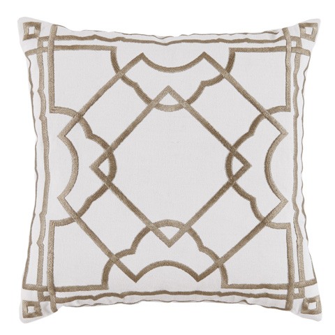 Lacefield Designs - White and Gold Embroidered Pillow - D1035