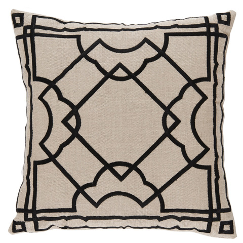 Lacefield Designs - Black and Cream Embroidered Gatsby Pillow - D1038