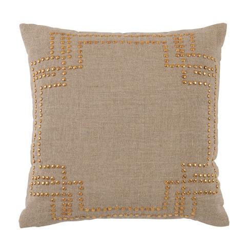 Lacefield Designs - Nailhead Stud Natural Linen Throw Pillow - D1040