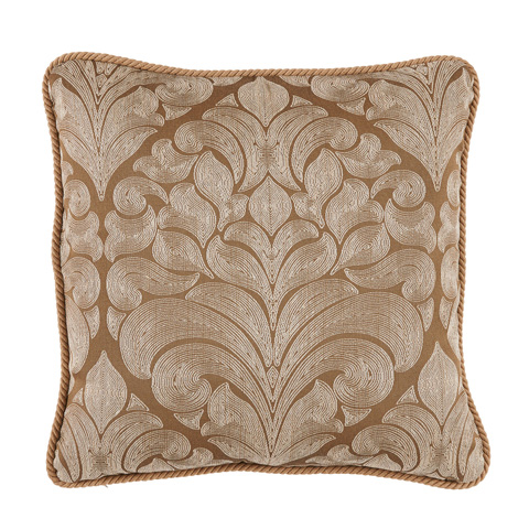 Lacefield Designs - Brass Woven Medallion Rope Trim Pillow - D1043