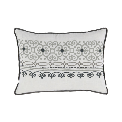 Lacefield Designs - Black Nickel Embroidered White Lumbar Pillow - D1052