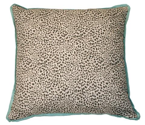 Lacefield Designs - Animal Print Neutral and Aqua Throw Pillow - D150