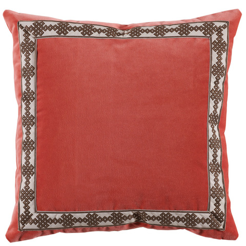 Lacefield Designs - Square Coral Velvet Charcoal Tape Border Pillow - D887