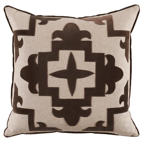 Lacefield Designs - Chocolate BrownVelvet Applique Pillow - D888