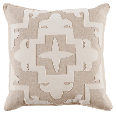 Lacefield Designs - Cream Tan Fleece Velvet Applique Pillow - D892