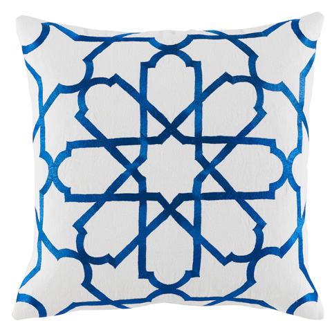 Lacefield Designs - Royal Blue Embroidered White Pillow - D910