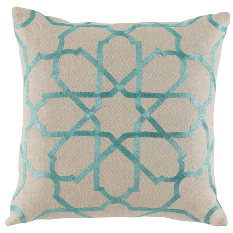 Lacefield Designs - Embroidered Pillow in Spa Blue - D913
